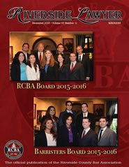 December 2015 - Riverside Lawyer Magazine